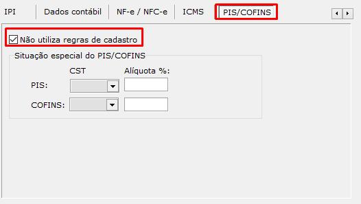 Aba PIS/COFINS do Cadastro de Tipo de Saída